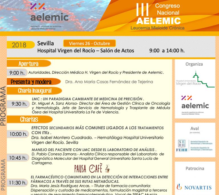 III Congreso Nacional Leucemia Mieloide Crónica Aelemic 2018 en Sevilla