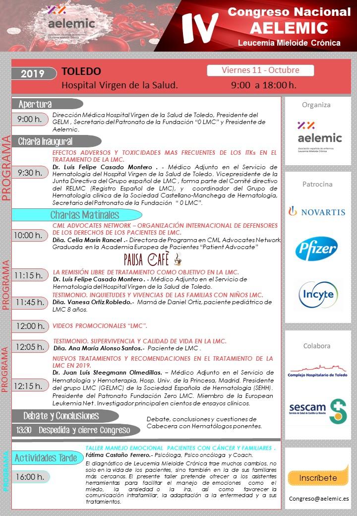 IV Congreso Nacional Pacientes Leucemia Mieloide Crónica Aelemic Toledo 2019.