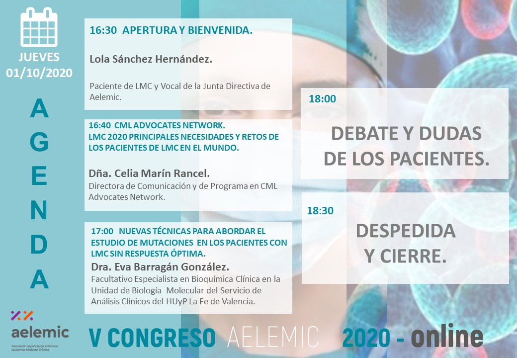 V CONGRESO NACIONAL PACIENTES LMC AELEMIC 2020 ONLINE  01/10/2020 PART 1